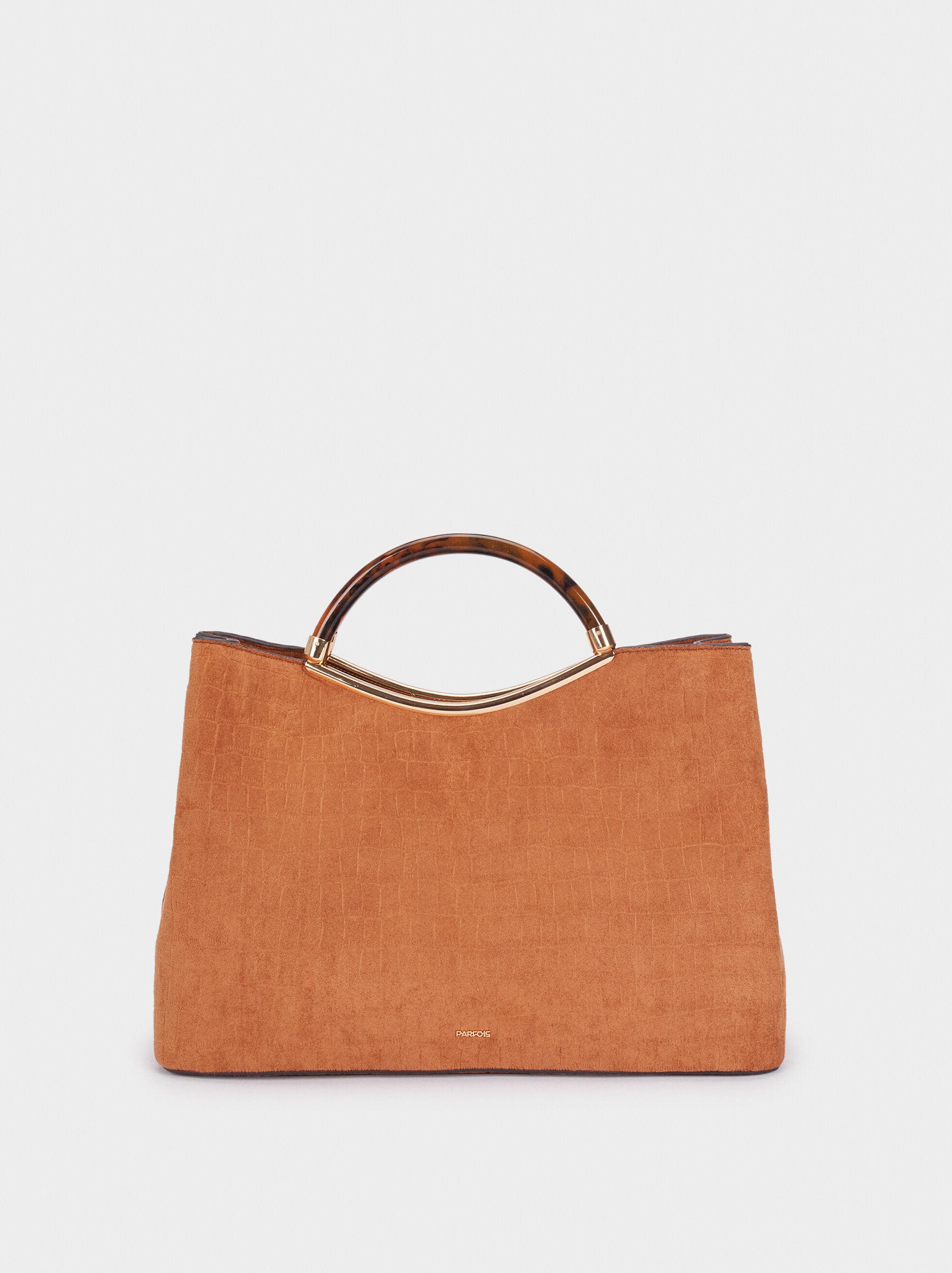 Fake Suede Tote Bag With Handle, Camel, hi-res