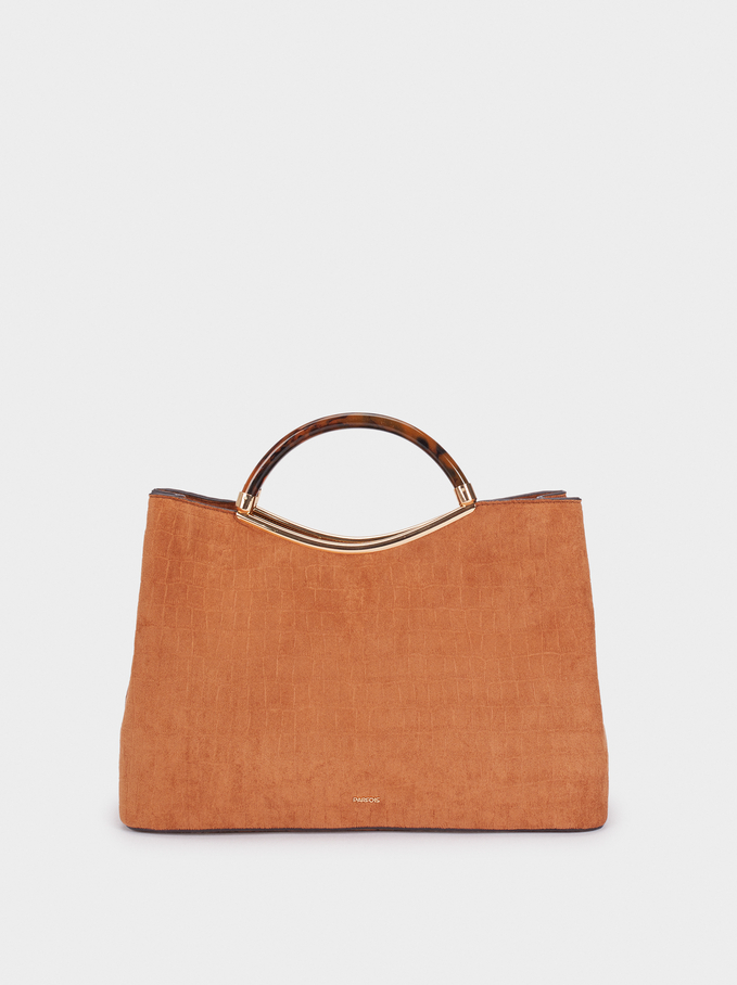 Fake Suede Tote Bag With Handle, Camel, hi-res