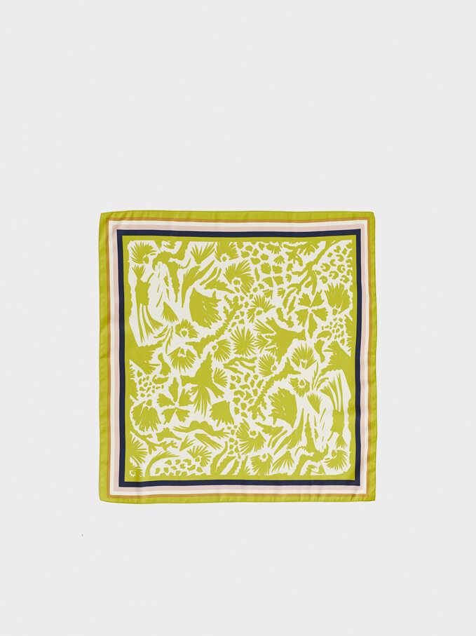 Printed Square Neckerchief, Yellow, hi-res