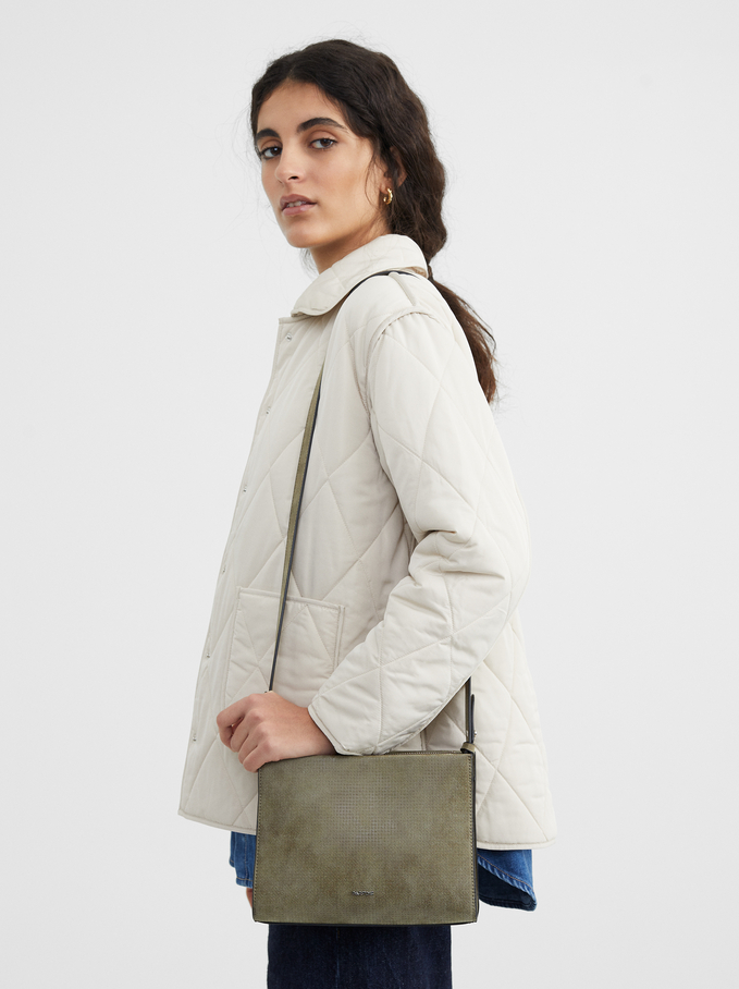 Textured Shoulder Bag, Khaki, hi-res