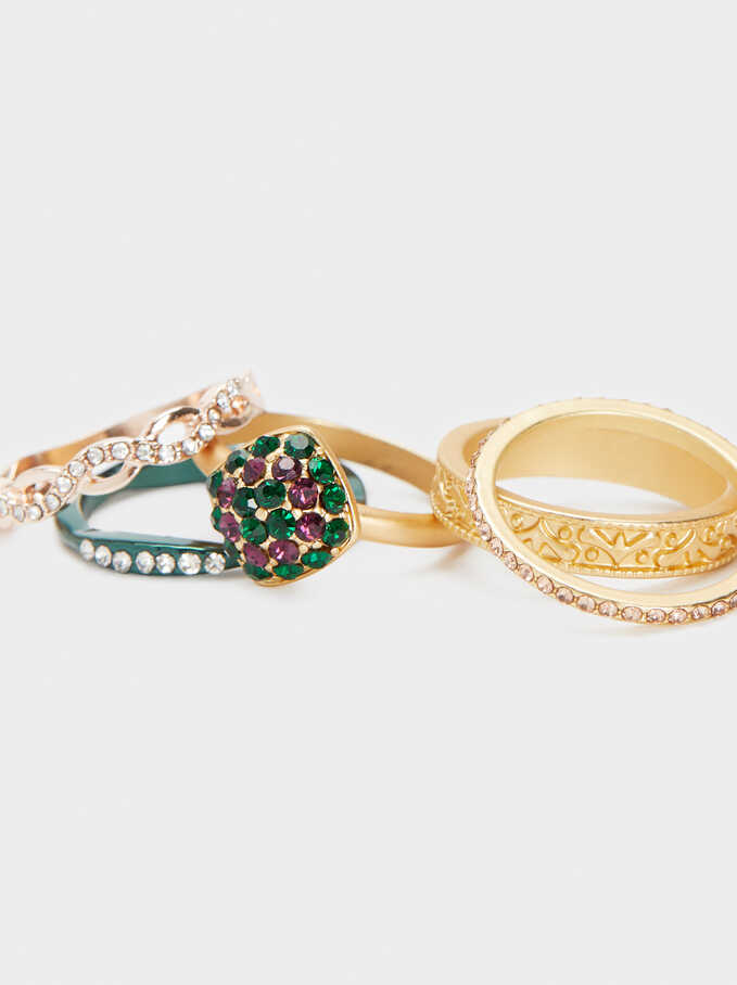 Set Of Rings With Rhinestones, Multicolor, hi-res