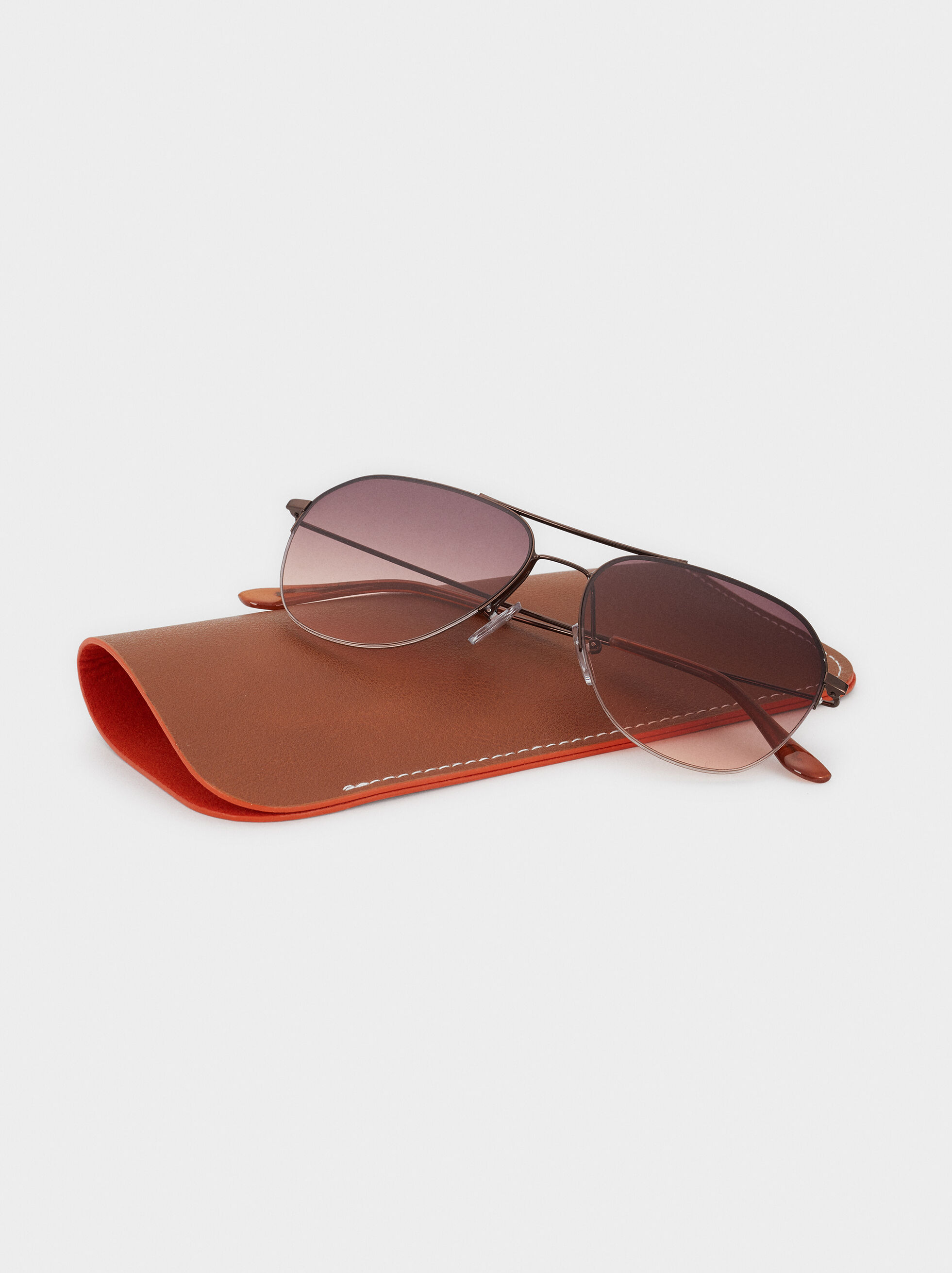 Aviator Sunglasses, Brown, hi-res