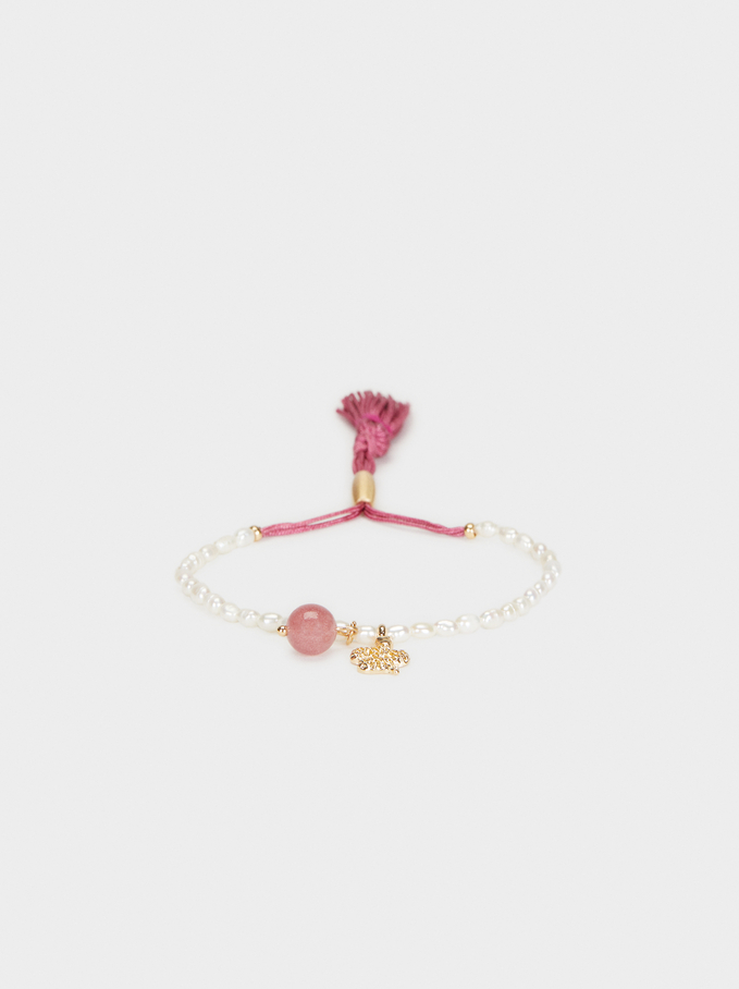 Adjustable Bracelet With Faux Pearls And Snake, Pink, hi-res