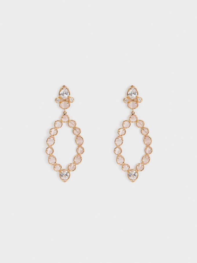 Long Earrings With Crystals, Pink, hi-res