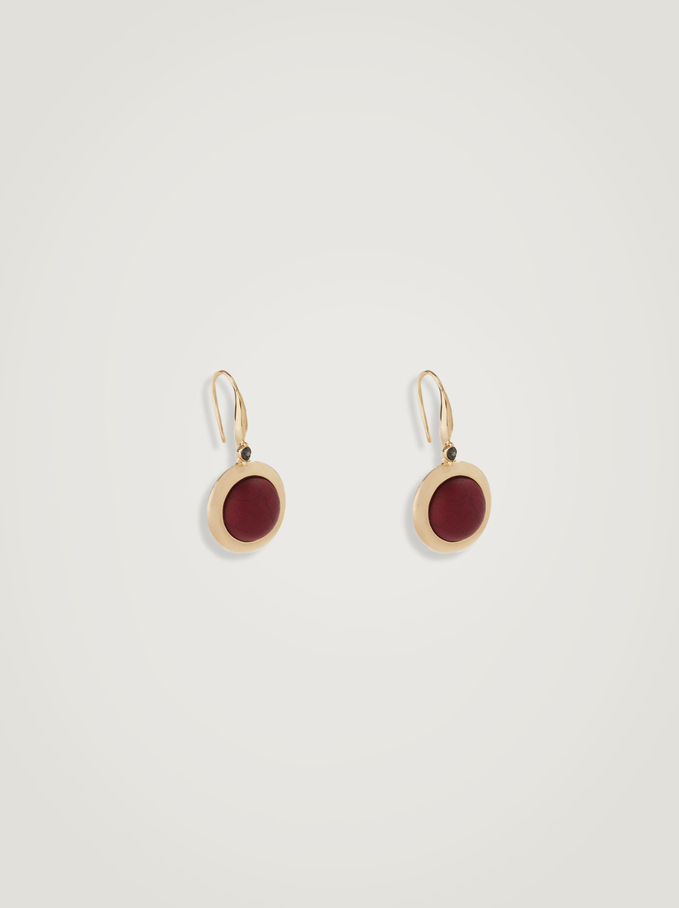 Earrings With  Stone, Bordeaux, hi-res