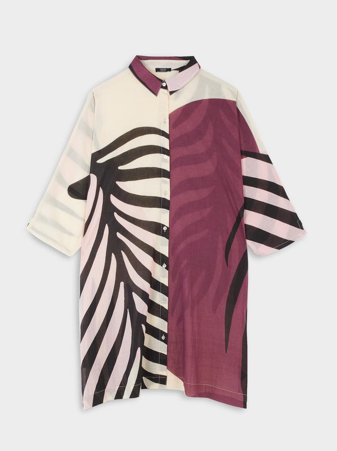 Vestido Fluido Estampado Hojas, Rosa, hi-res