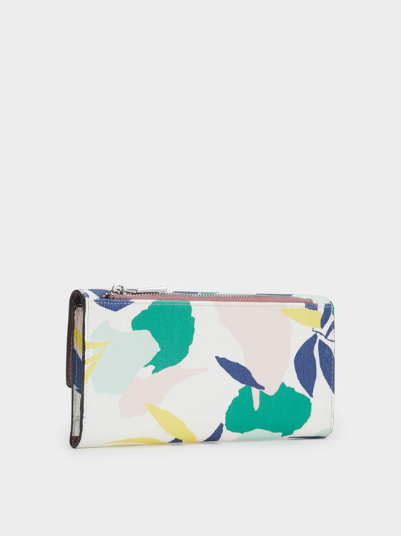 Large Floral Print Purse, Green, hi-res