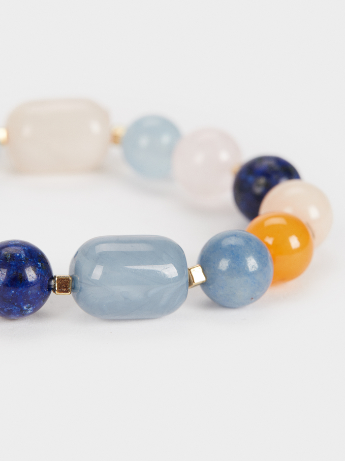 Elastic Bracelet With Horn And Stones, Multicolor, hi-res