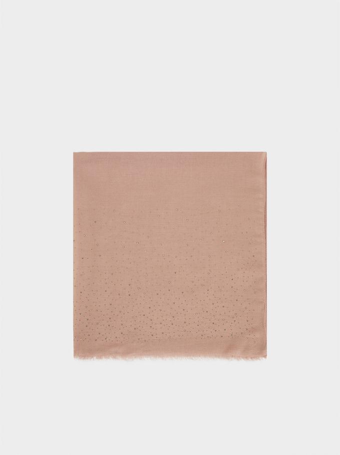 Elegant Scarf With Rhinestones, Pink, hi-res
