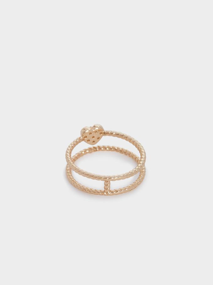 Heart Ring With Cubic Zirconia, Golden, hi-res