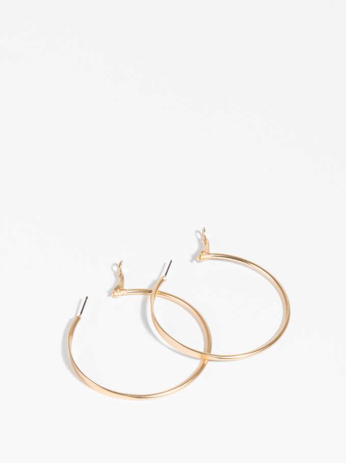 Golden Basics Large Hoop-Earrings, Golden, hi-res