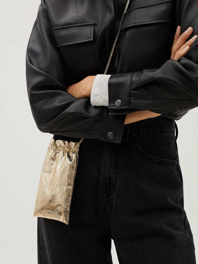 Metallic Mobile Phone Bag With Shoulder Strap, Golden, hi-res