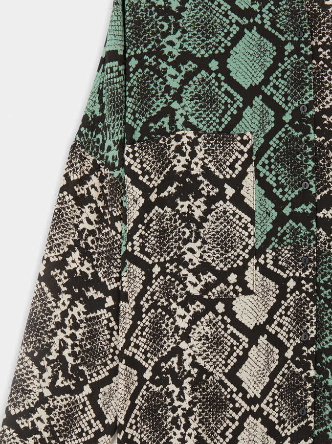 Flowing Shirt With Snake Print, Green, hi-res