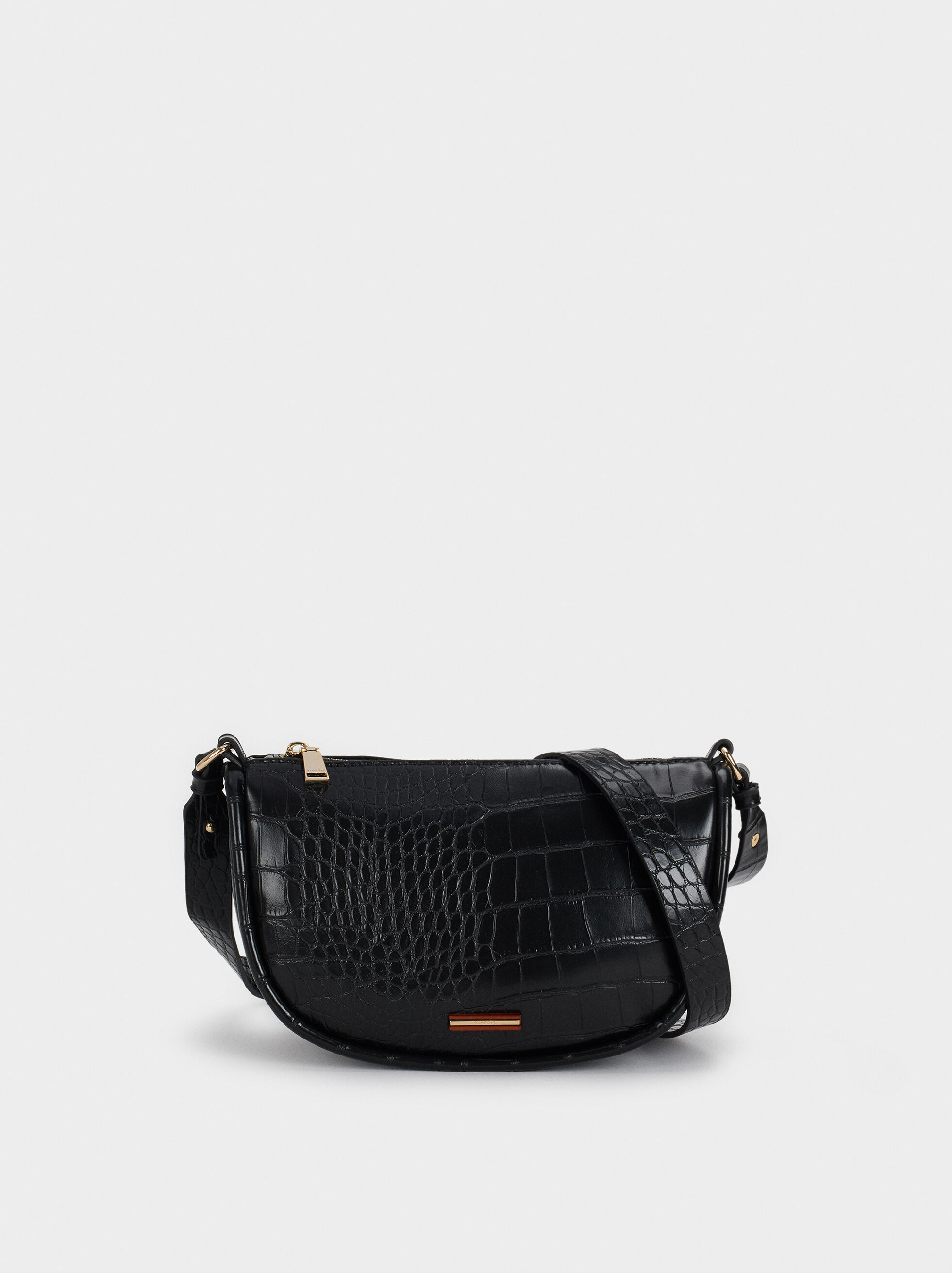 Mock Croc Baguette Bag, Black, hi-res