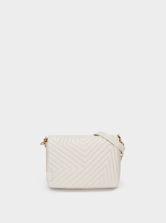 Quilted Crossbody Bag With Contrast Strap, Ecru, hi-res