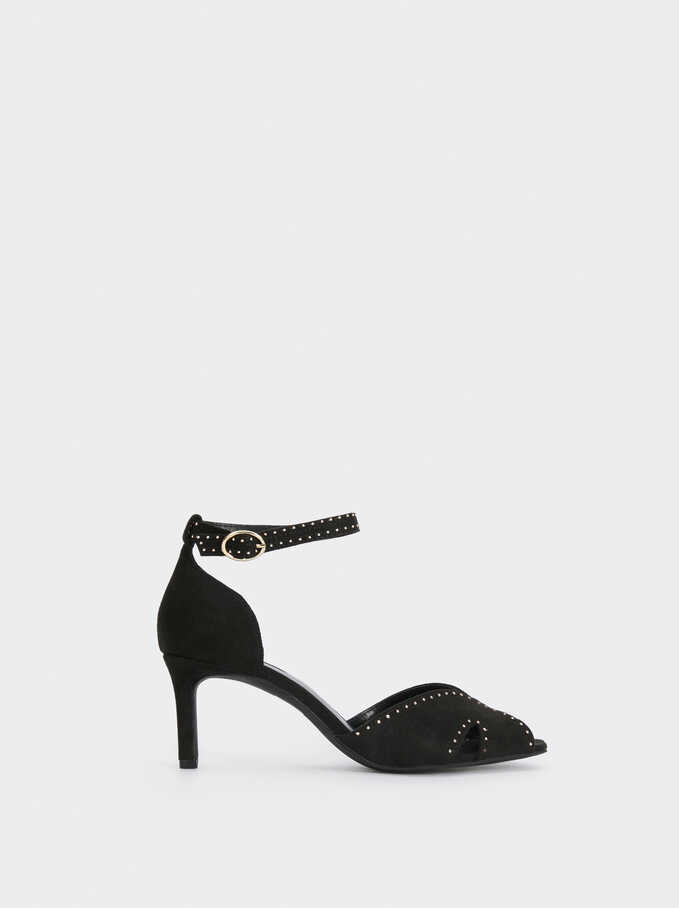 Studded Faux Suede Sandals, Black, hi-res