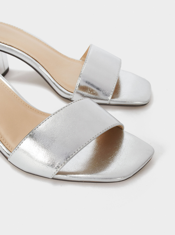Metallic Mid-Heel Sandals, Silver, hi-res