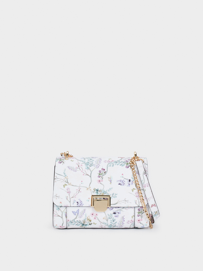 Floral Print Crossbody Bag With Front Flap Fasteni, Violet, hi-res