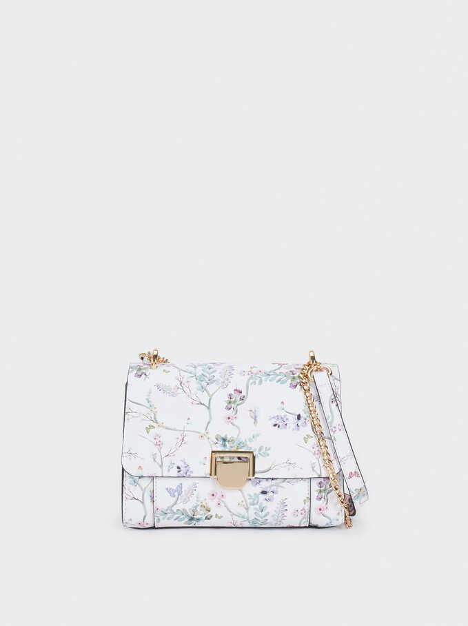 Floral Print Crossbody Bag With Front Flap Fastening, Violet, hi-res