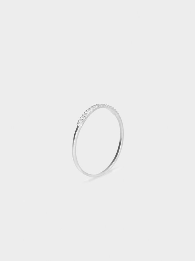 925 Silver Ring With Zirconia, Silver, hi-res