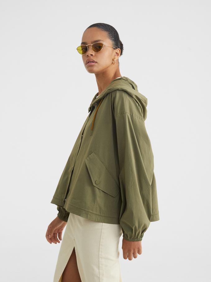 Light Jacket With Hood, Khaki, hi-res