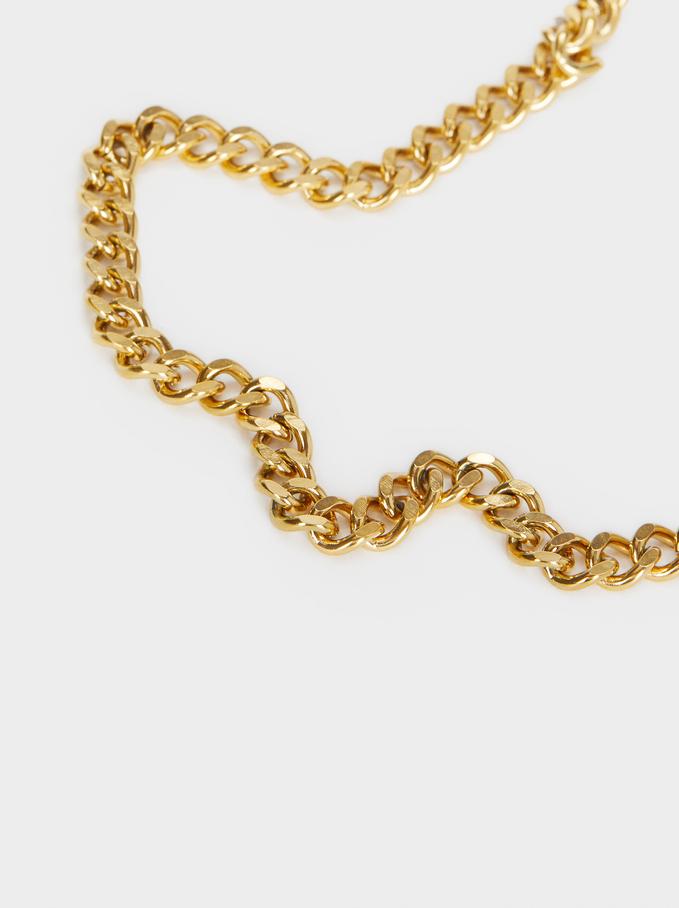 Short Golden Stainless Steel Chain Necklace, Golden, hi-res