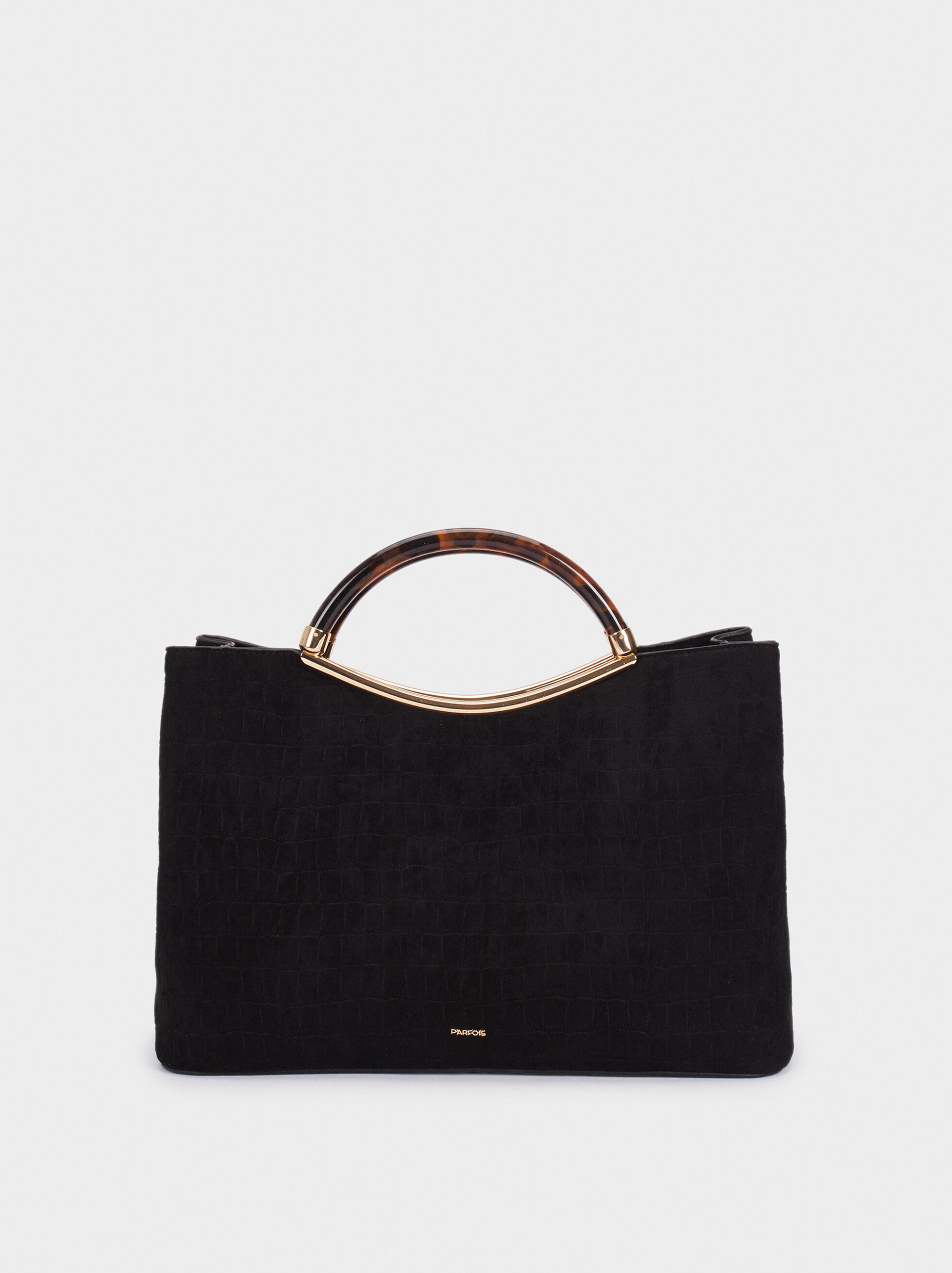 Fake Suede Tote Bag With Handle, , hi-res