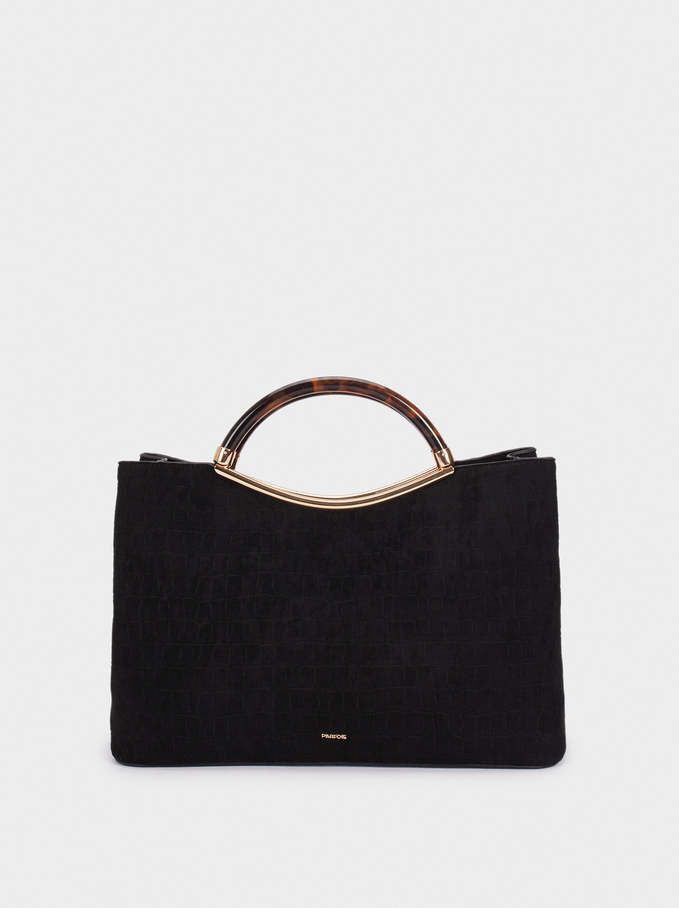 Fake Suede Tote Bag With Handle, Black, hi-res