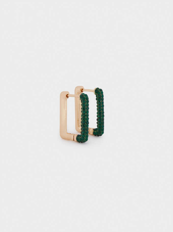 Small Hoop Earrings With Crystals, Green, hi-res