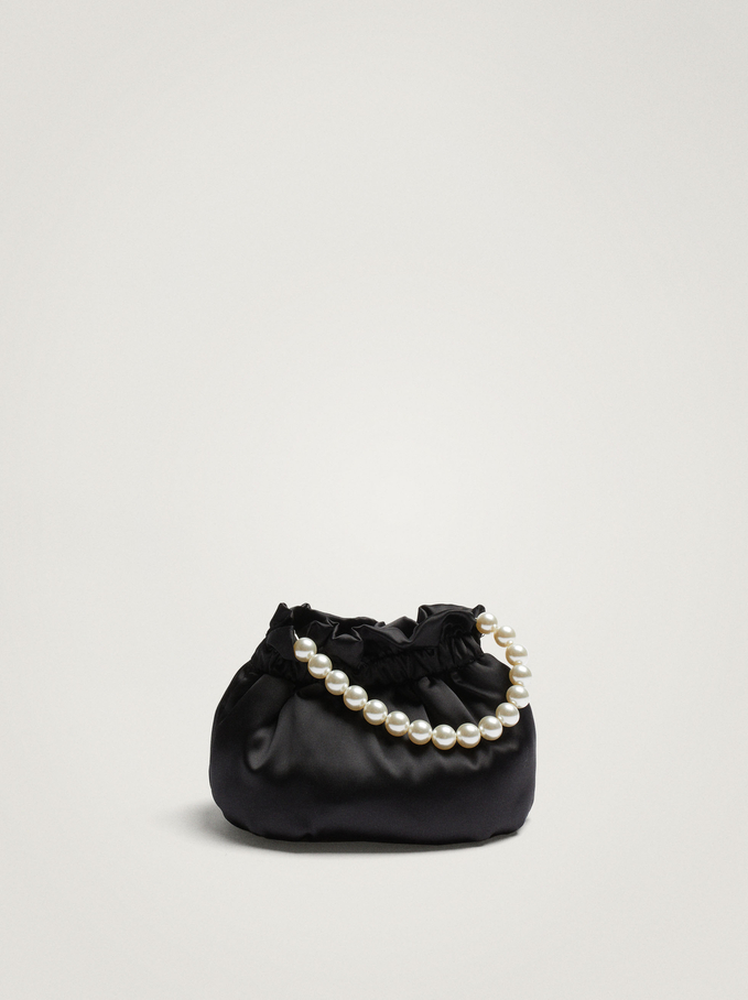 Party Bucket Bag With Pearl Handle, Black, hi-res
