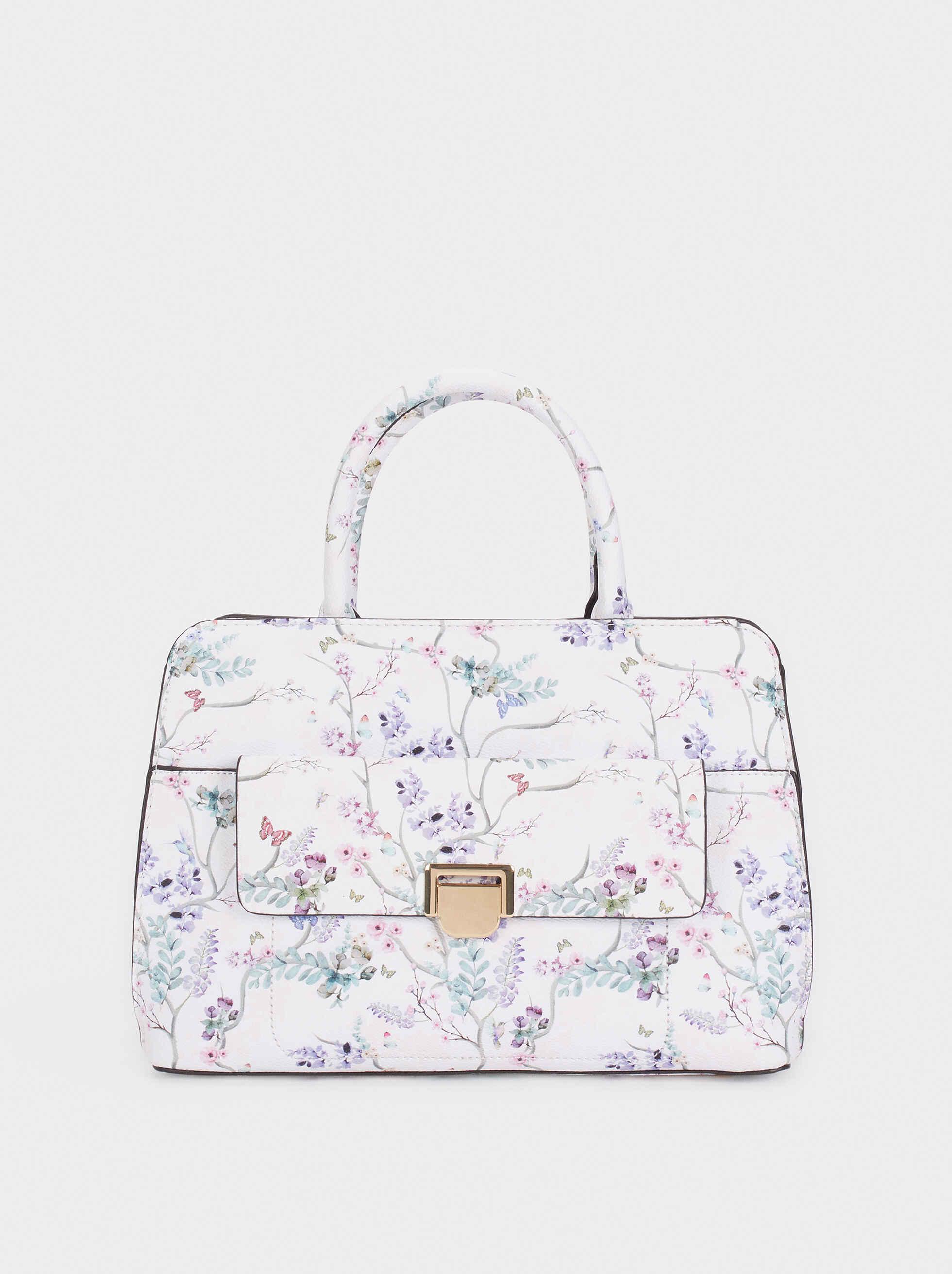 Floral Print Tote Bag , Violet, hi-res