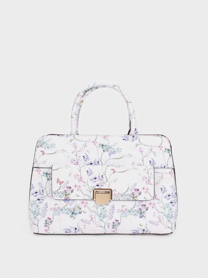 Bolso Tote Estampado Floral , Violeta, hi-res