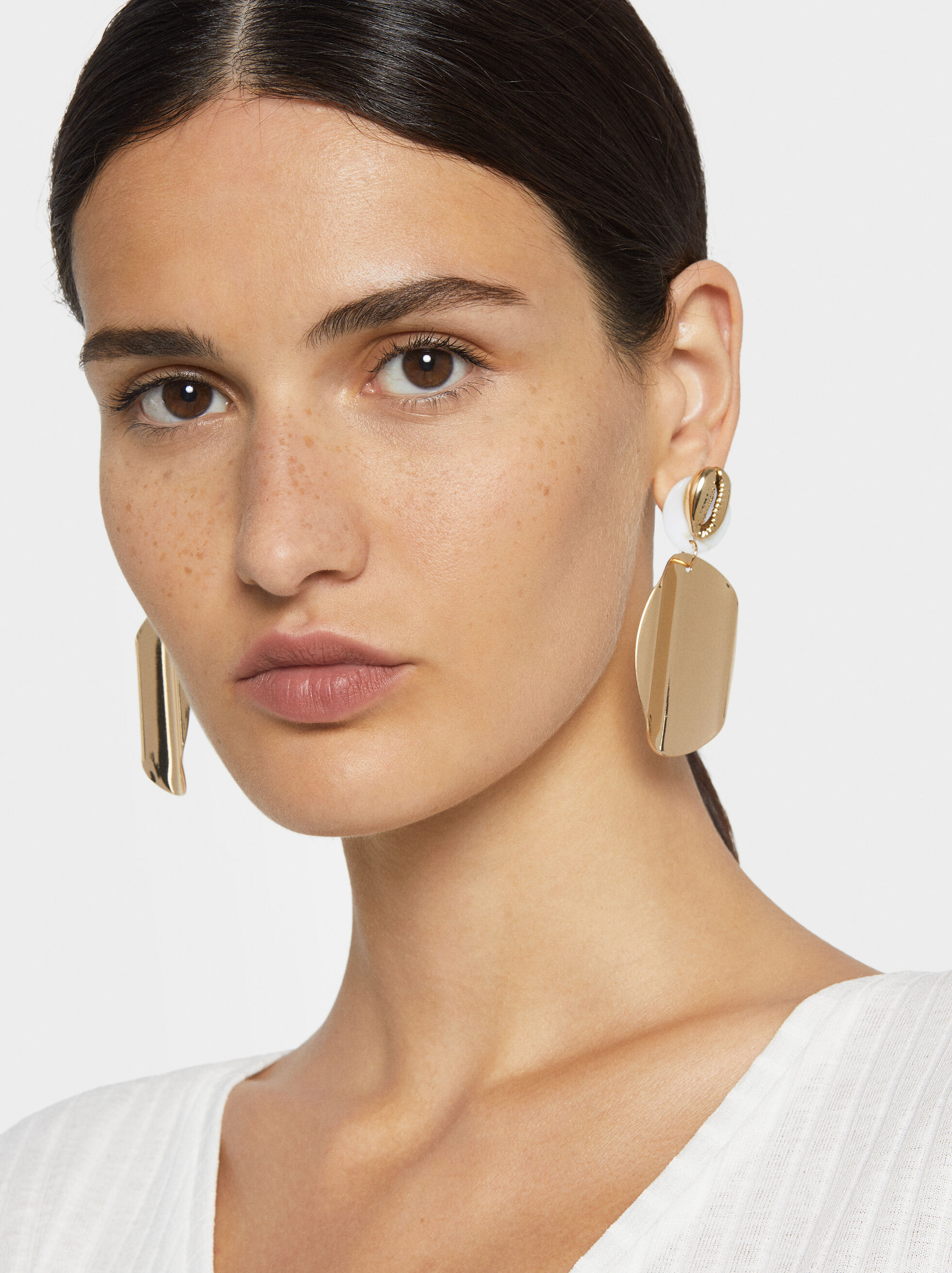 Long Seashell Earrings, Golden, hi-res