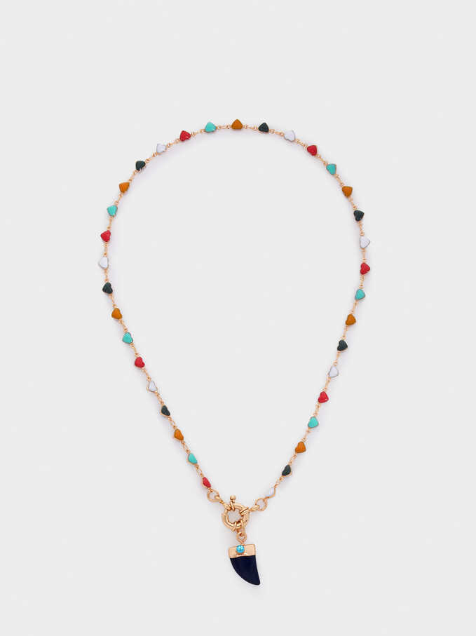 Short Necklace With Multicoloured Hearts, Multicolor, hi-res