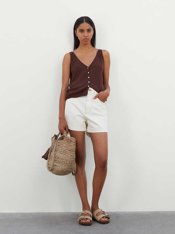 Knit Top With Buttons, Brown, hi-res