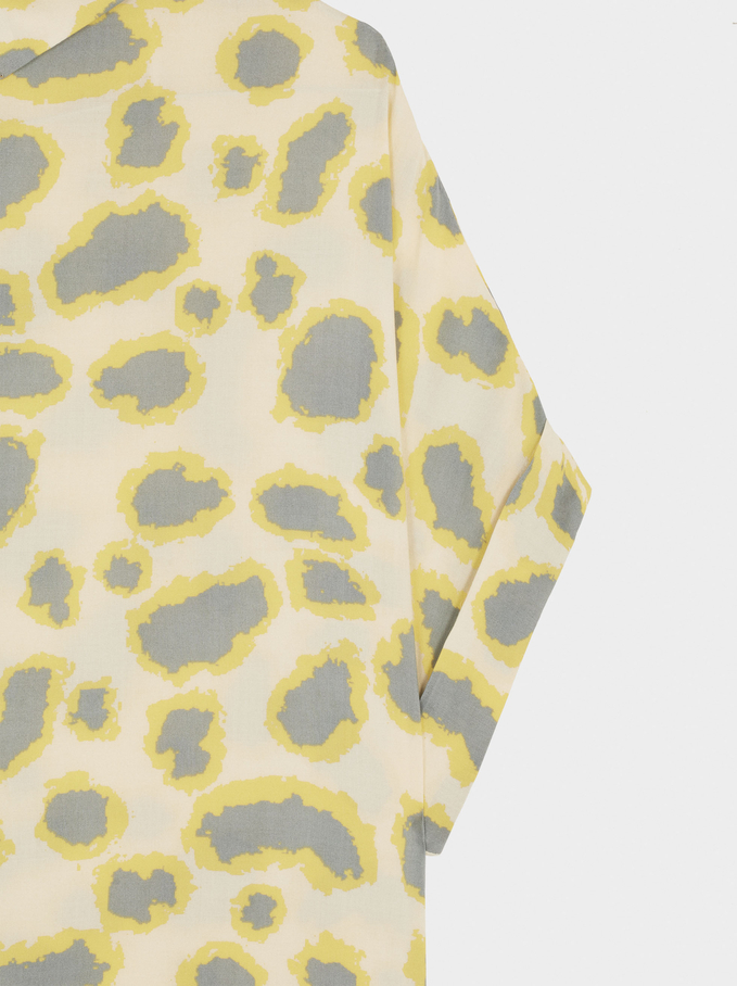 Vestido Camisero Estampado, Amarillo, hi-res
