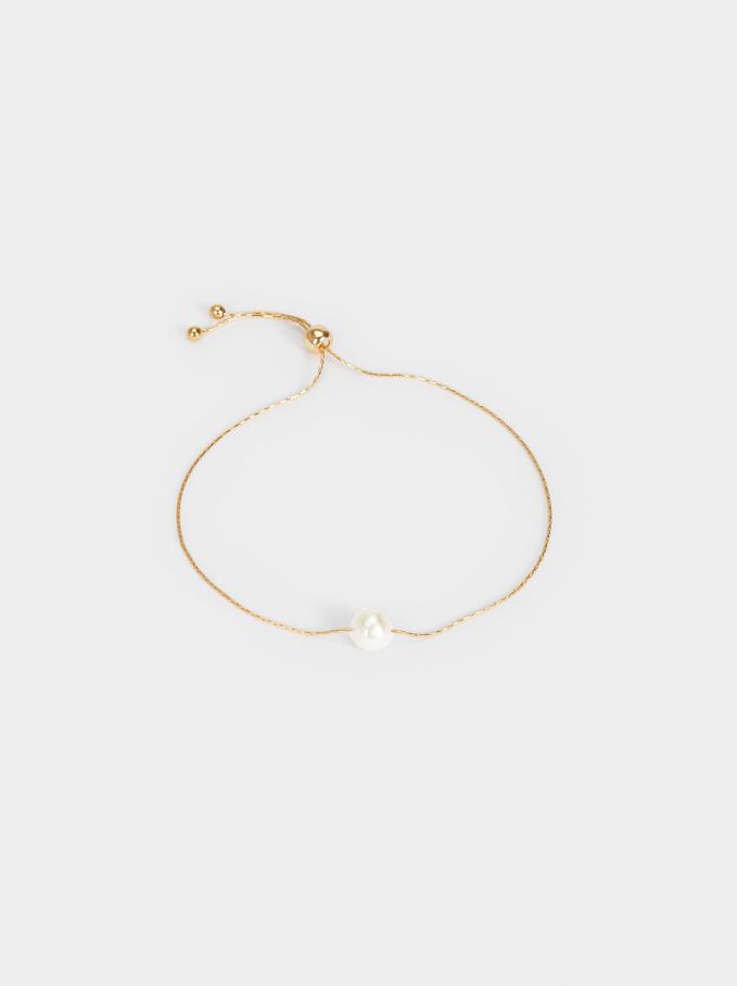 Adjustable Bracelet With Pearl, Golden, hi-res