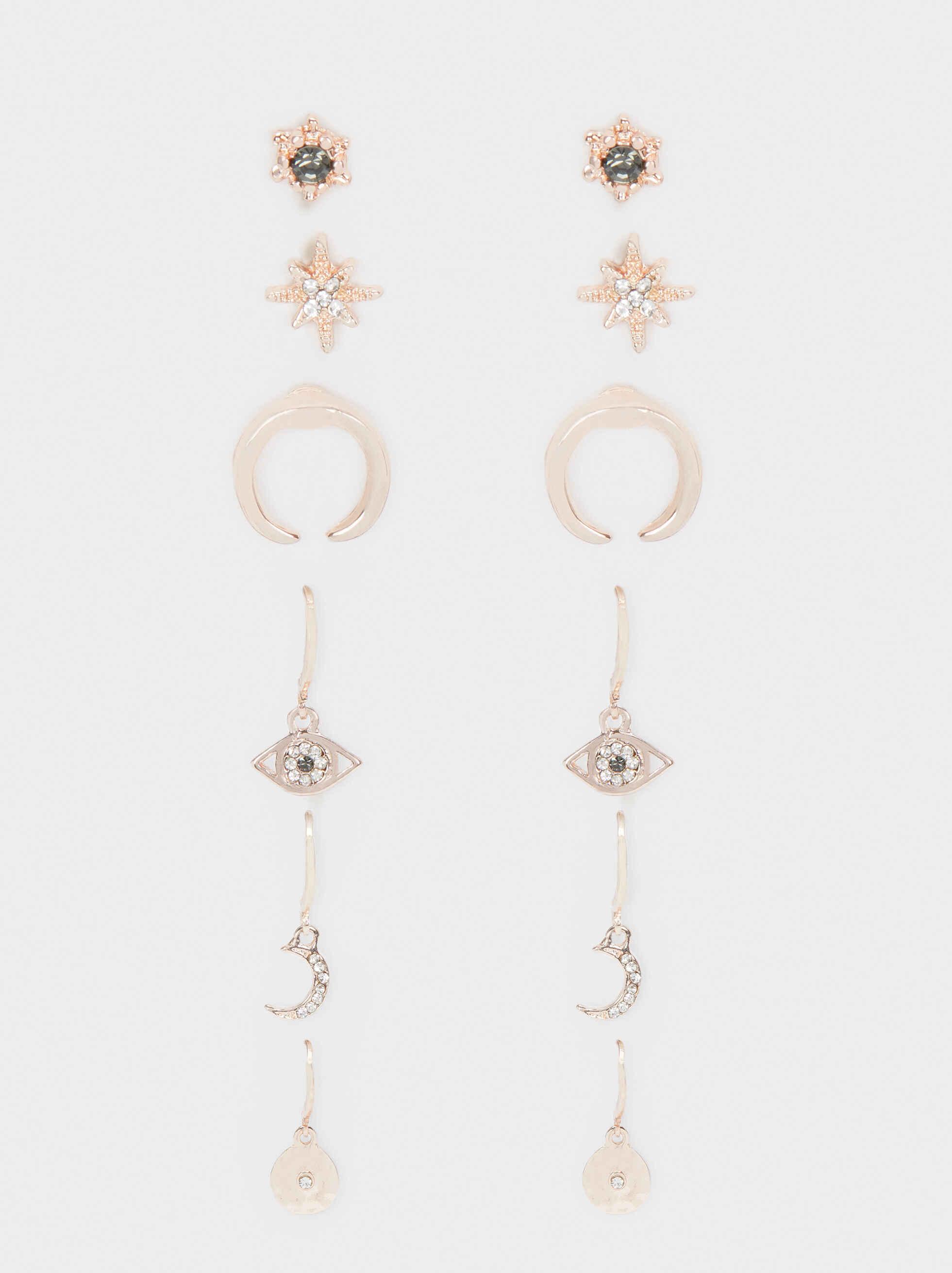 Set Of Rose Gold Earrings, Orange, hi-res