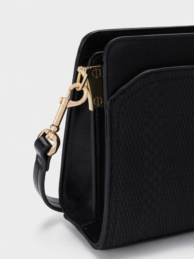 Embossed Crossbody Bag With Detachable Strap, Black, hi-res