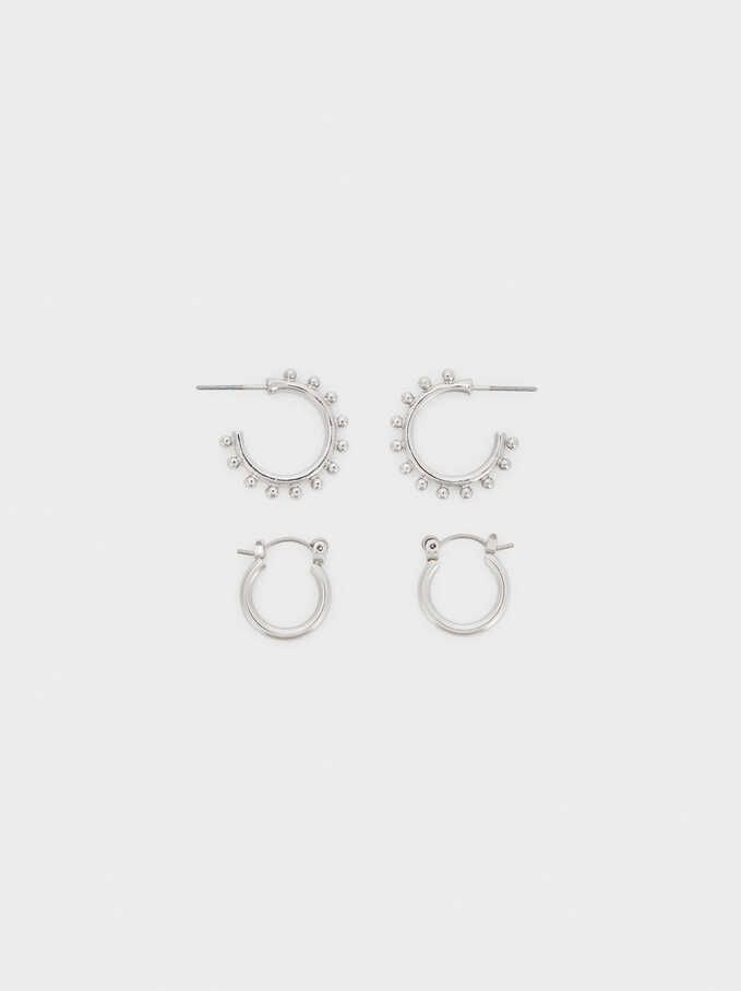Set Of Hoop Fever Hoop Earrings, Silver, hi-res