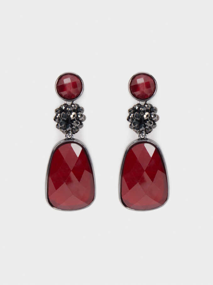 Long Earrings With Crystals And Multicoloured Resin, Bordeaux, hi-res