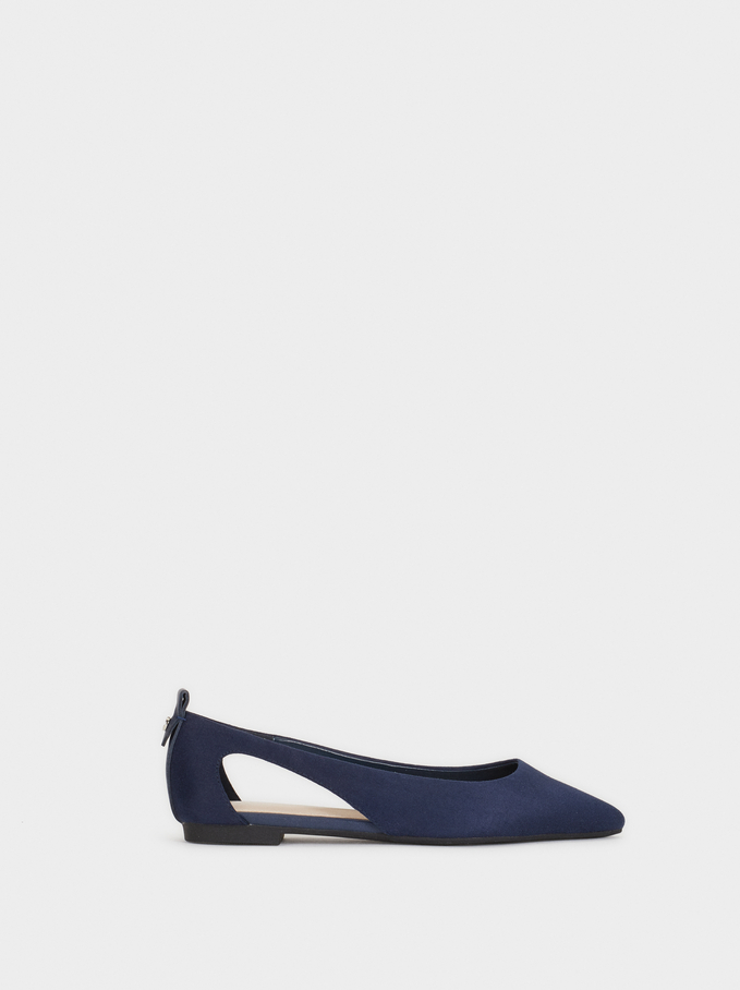 Ballerinas With Cut-Out Sides, Navy, hi-res