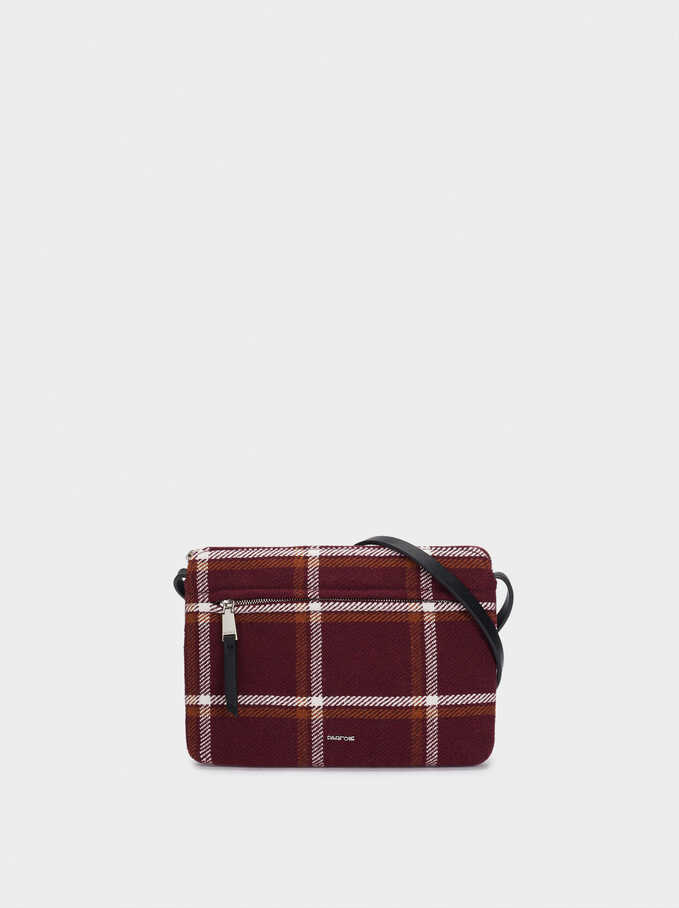 Check Print Crossbody Bag, Bordeaux, hi-res