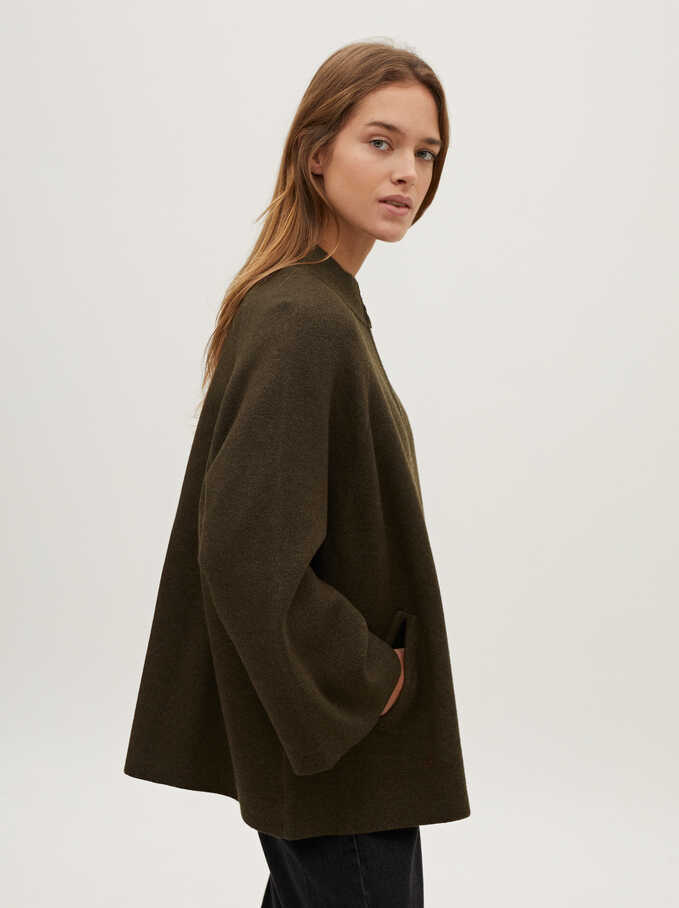 Knitted Zip-Fasten Poncho, Khaki, hi-res