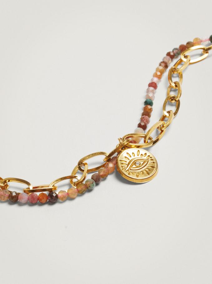 Bracelet En Acier Avec Perles Fantaisie, Multicolore, hi-res