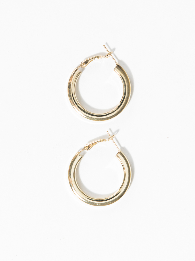 Basic Small Hoop Earrings, Golden, hi-res