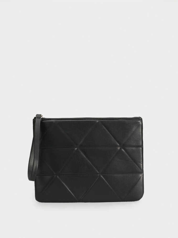 Toiletry Bag With Geometric Embossing, Black, hi-res