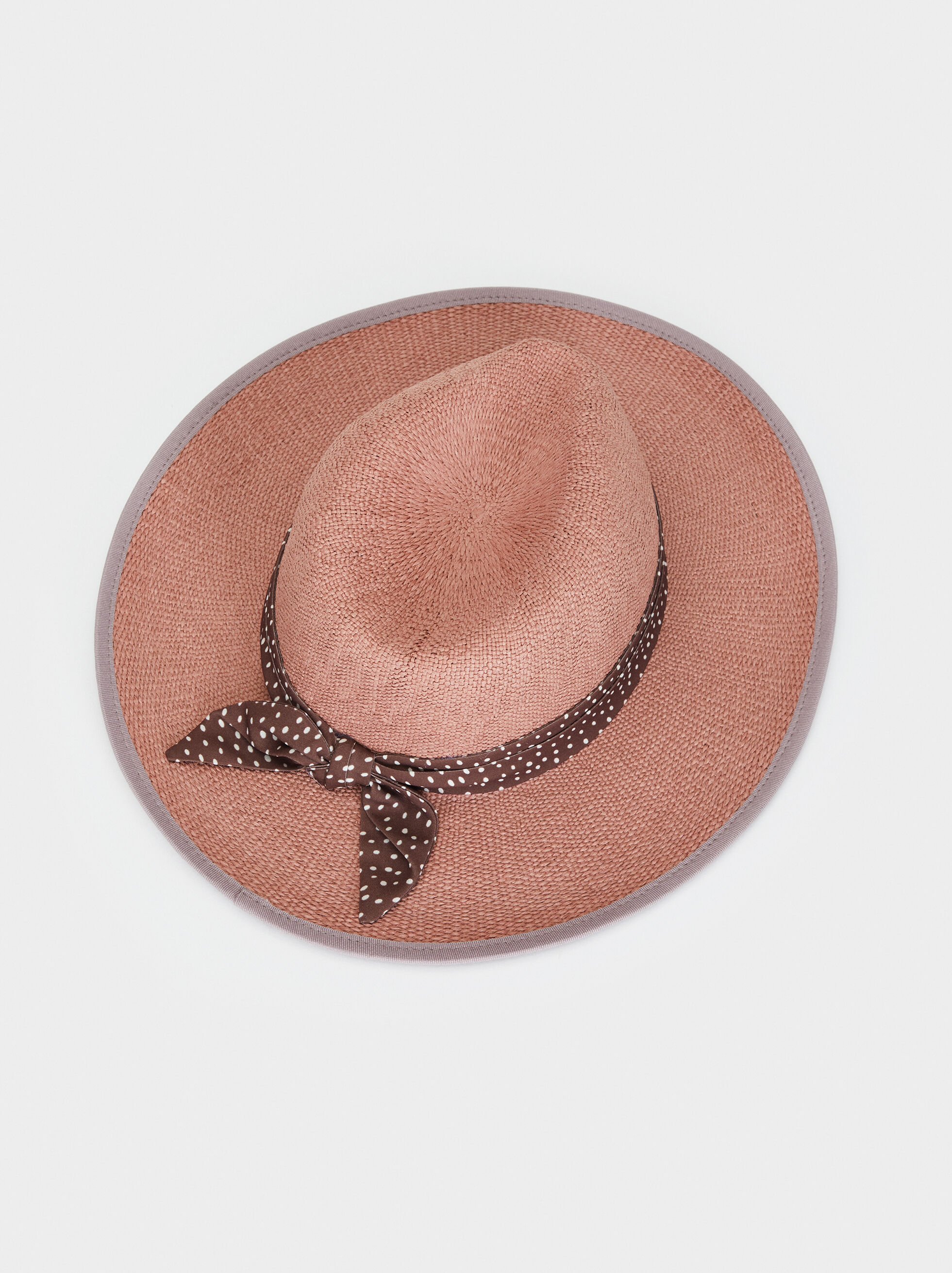 Straw Hat With Polka Dot Details, Pink, hi-res