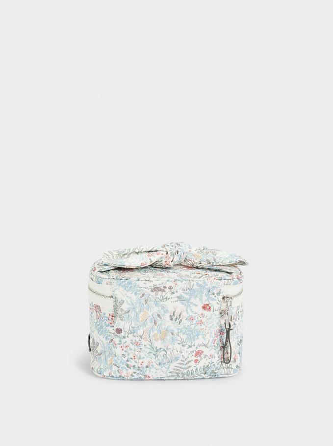 Printed Nylon Cosmetic Purse, White, hi-res