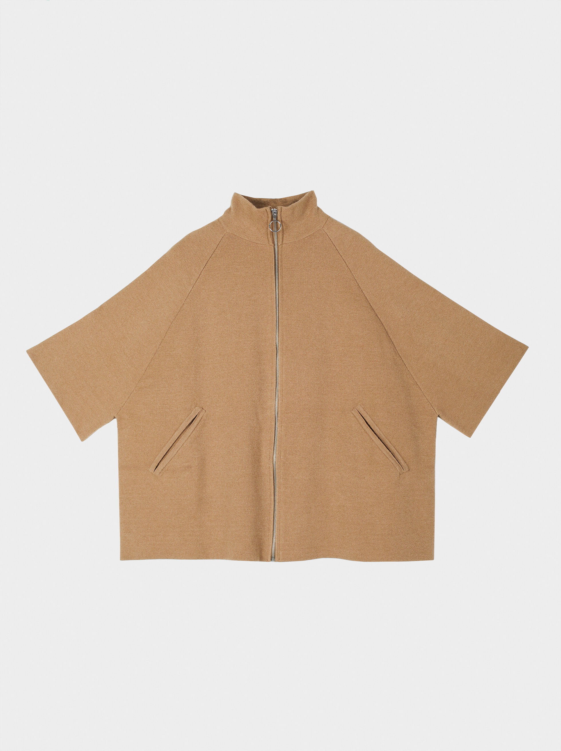 Poncho With Zip, Camel, hi-res